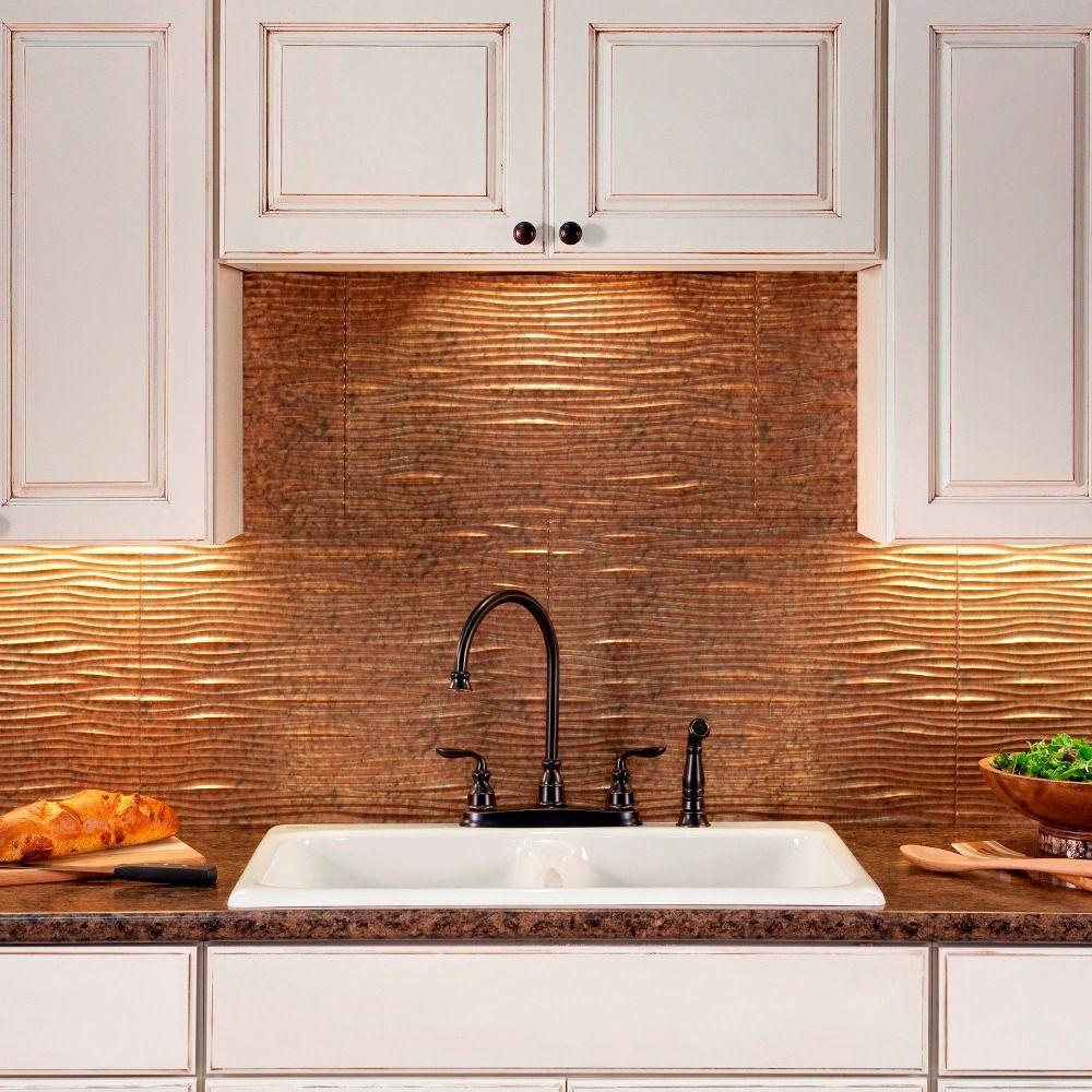 24 in. x 18 in. Waves PVC Decorative Tile Backsplash in Cracked Copper
