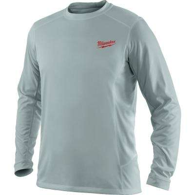 Men's Large Work Skin Gray Long Sleeve Light Weight Performance Shirt