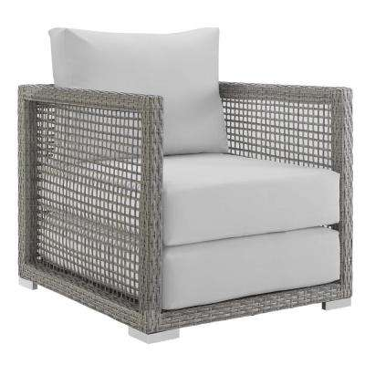 Aura Gray Wicker Outdoor Lounge Chair with White Cushions