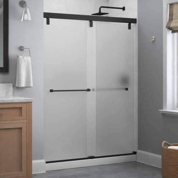 Everly 60 in. x 71-1/2 in. Frameless Mod Soft-Close Sliding Shower Door in Matte Black with 1/4 in. (6 mm) Niebla Glass