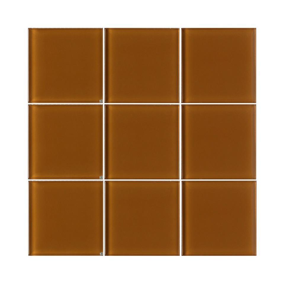 VitraArt Tranquil Mocha 4 in. x 4 in. Glass Wall Tile (6 sq. ft. / case)