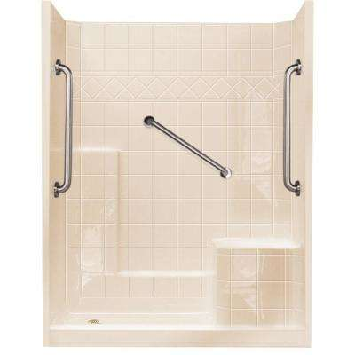 32 in. x 60 in. x 77 in. Standard Plus 24 Low Threshold 3-Piece Shower Kit in Bone with Right Seat and Left Drain