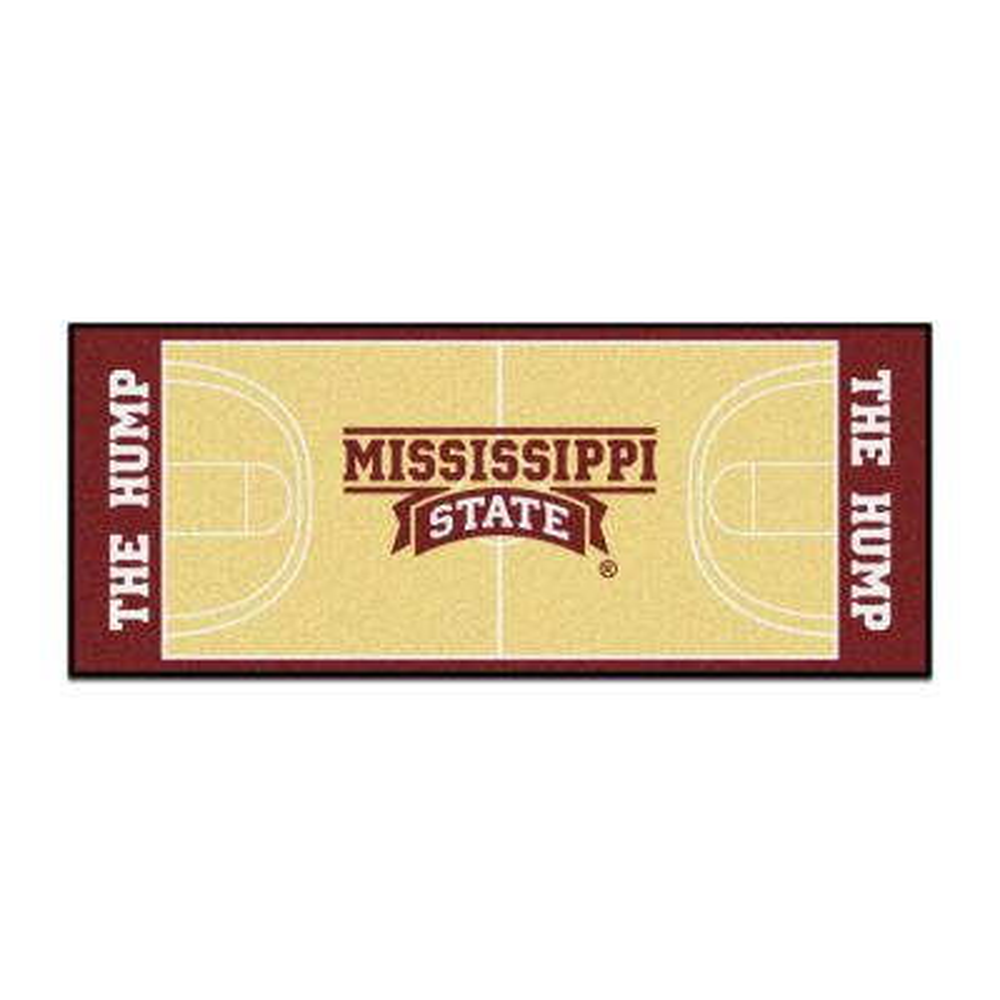 NCAA - Mississippi State University Tan 3 ft. x 6 ft. Indoor Basketball Court Runner Rug