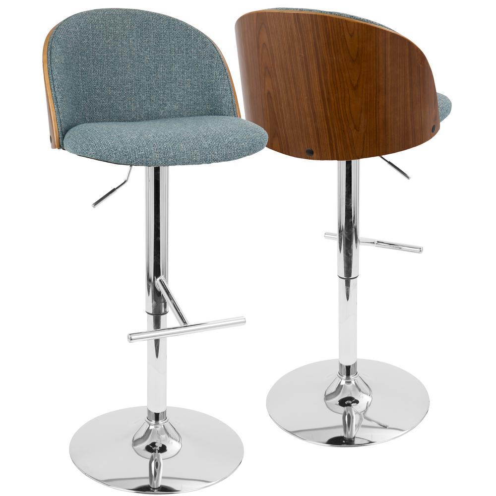 Luna Walnut and Blue Adjustable Barstool
