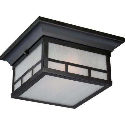 Fatima Stone Black 2-Light Outdoor Flush Mount