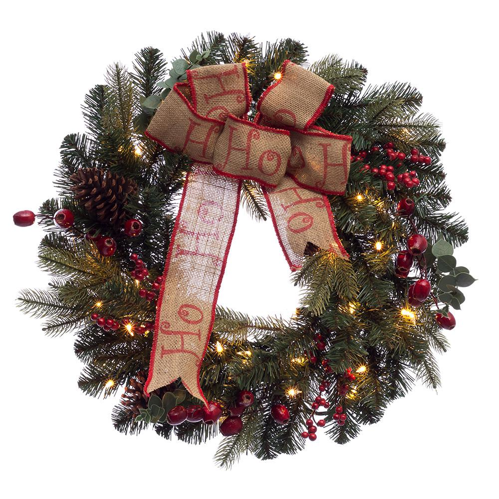 pre lit incandescent artificial christmas wreath with 100 tips and 35 - How To Decorate Artificial Christmas Wreath
