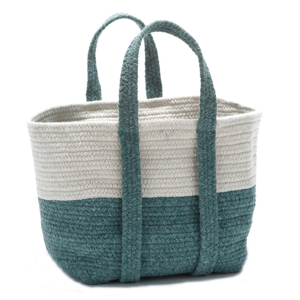 2-Tone 16 in. x 14 in. x 16 in. Wool-Blend Storage in Tote in Teal