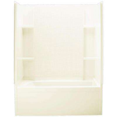Accord 32 in. x 60 in. x 75-1/2 in. Bath and Shower Kit Right Drain in Biscuit with Backer Boards