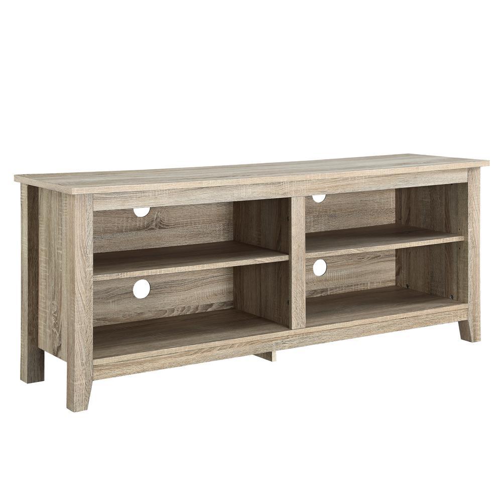 Walker Edison Furniture Company Essential Natural Storage Entertainment Center Hd58cspnt The