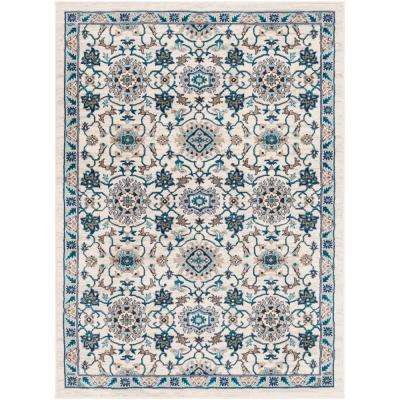 Elias Ivory 7 ft. 10 in. x 10 ft. 3 in. Medallion Area Rug