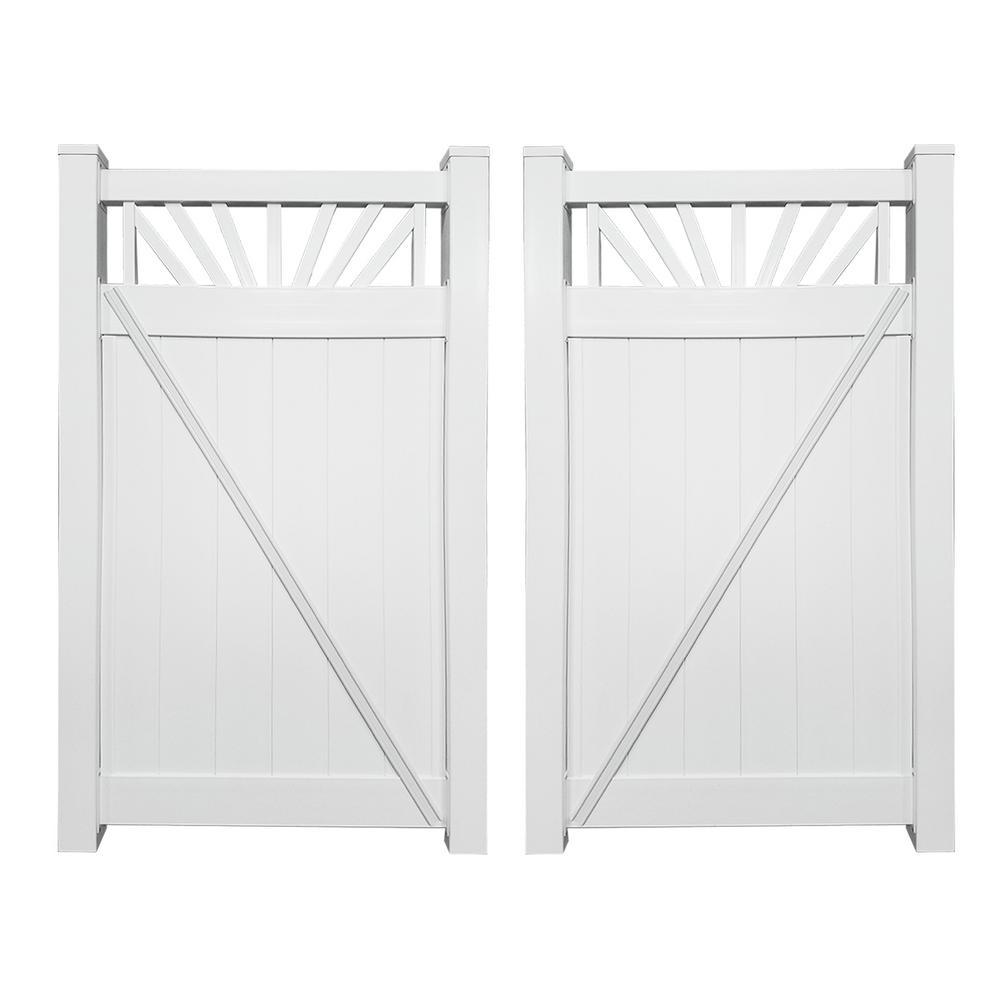 Annapolis 7.4 ft. W x 5 ft. H White Vinyl Privacy Fence Double Gate Kit
