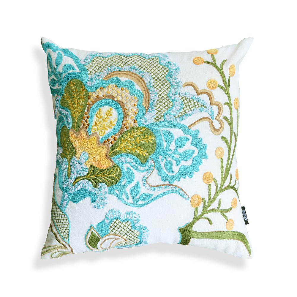 A1HC Harriet Green-Blue Botanical 20 in. x 20 in. Pillow
