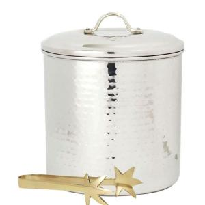 Old Dutch 3 Qt. Hammered Stainless Steel Ice Bucket with Liner and Tongs by Old Dutch