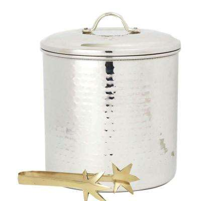 3 Qt. Hammered Stainless Steel Ice Bucket with Liner and Tongs