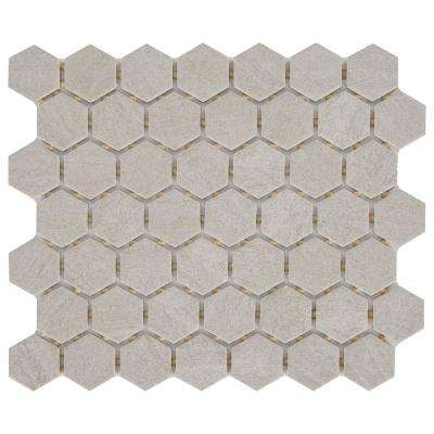 Nova Falls Gray 10 in. x 12 in. x 6.35mm Ceramic Hexagon Mosaic Floor and Wall Tile (0.81 sq. ft. / piece)