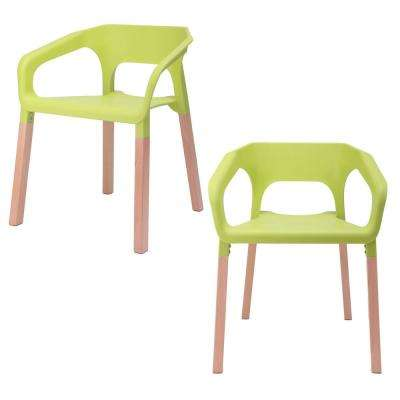 Amy Series Green Modern Accent Dining Arm Chair with Beech Wood Leg (Set of 2)