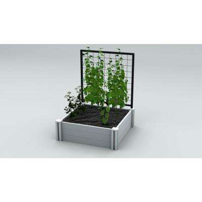 Classic 36 In. X 36 In. White Vinyl Garden Bed With Trellis