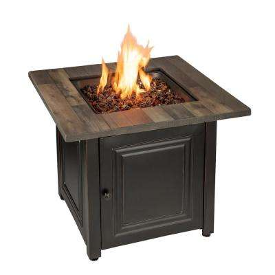 30 in. W x 25.4 in. H Square Steel Frame and Wood Grain Print Resin Mantel LP Gas Fire Pit with Integrated Ignition