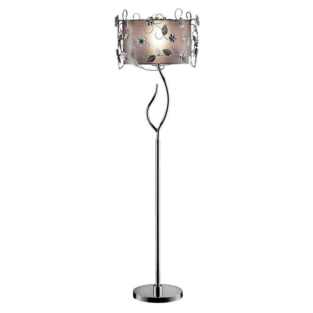 62 in. Silver Crystal Floor Lamp