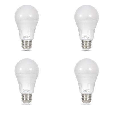 40-Watt Equivalent A19 Non-Dimmable Red Laser and Bright White Dual Mode LED Light Bulb (4-Pack)