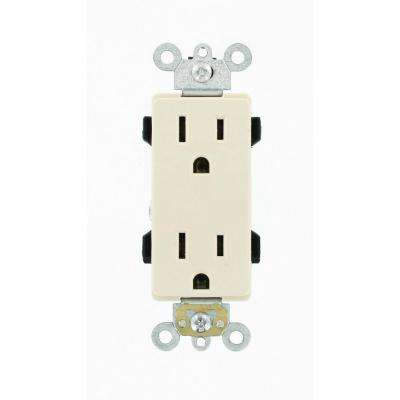 Decora Plus 15 Amp Industrial Grade Duplex Outlet, Light Almond