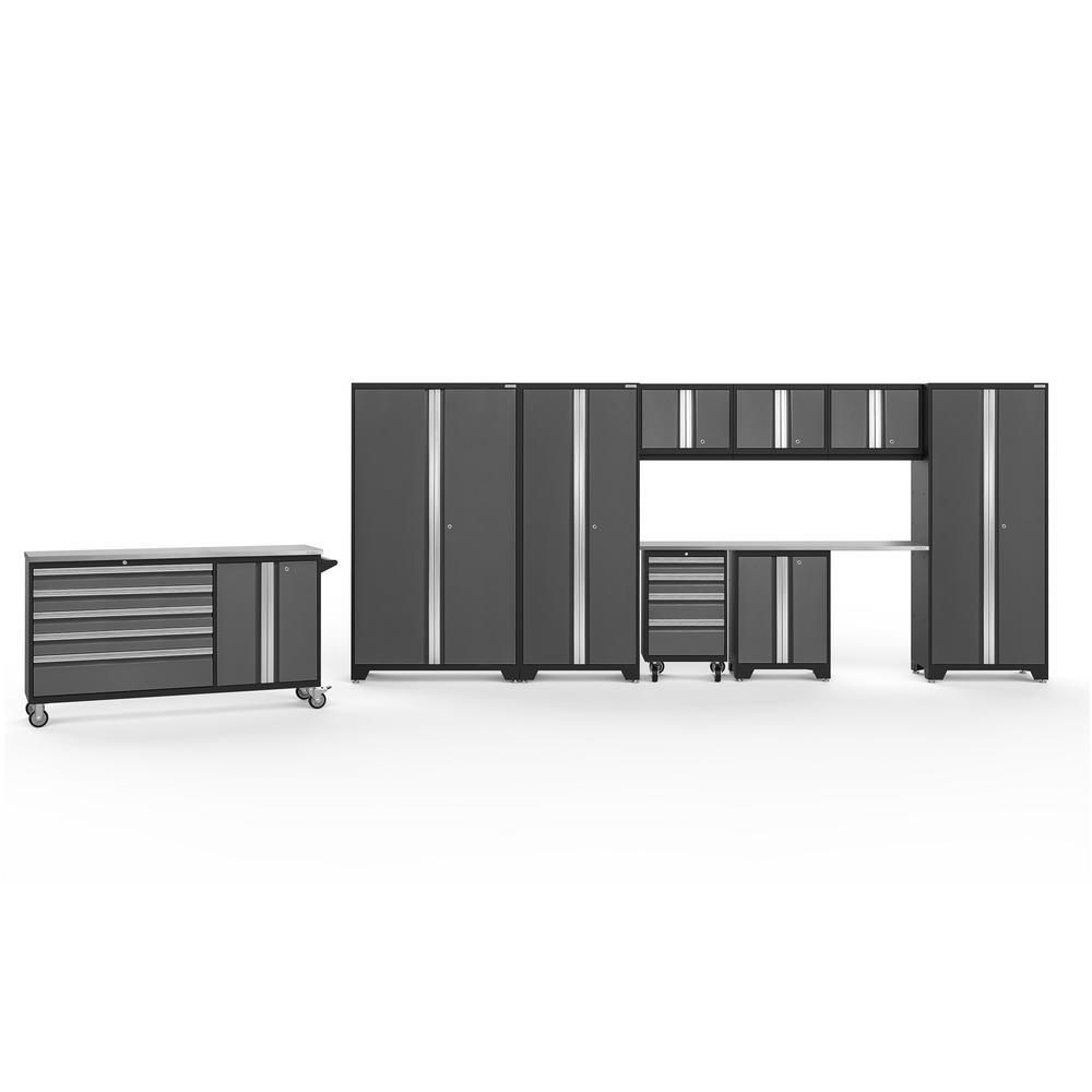 NewAge Products Bold 3.0 77.25 in. H x 236 in. W x 18 in. D 24-Gauge Welded Steel Garage Cabinet Set in Gray (10-Piece)
