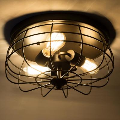 15 in. Industrial 3-Light Oil Rubbed Bronze Metal Cage Flush Mount