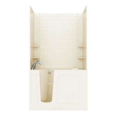 Rampart Nova Heated 4.5 ft. Walk-in Whirlpool and Air Bathtub with 4 in. Tile Easy Up Adhesive Wall Surround in Biscuit