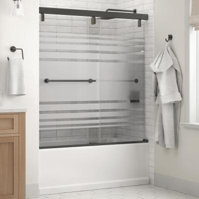 Everly 60 in. x 59-1/4 in. Mod Semi-Frameless Sliding Bathtub Door in Bronze and 1/4 in. (6mm) Transition Glass