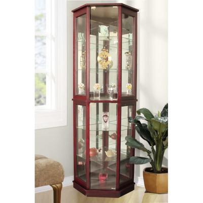 Floor Standing Cherry 5-Sided Lighted Corner Curio Cabinet