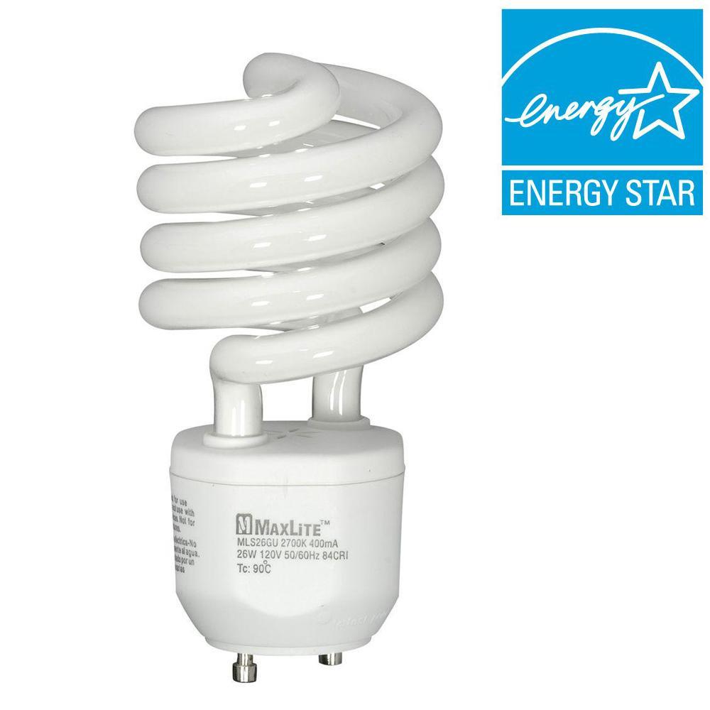 maxlite 100w equivalent soft white 2700k spiral cfl light bulb