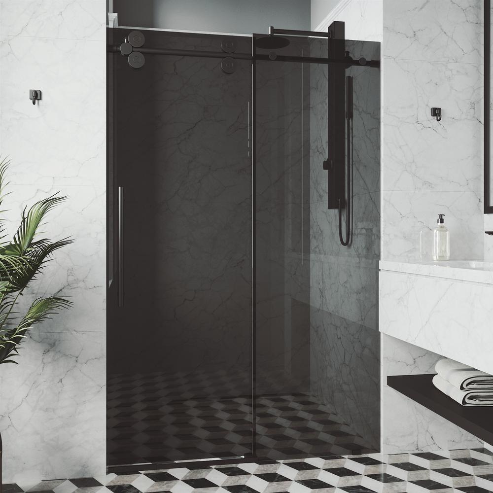 Elan 56 in. to 60 in. x 74 in. Frameless Sliding Shower Door in Matte Black with Black Glass & Handle