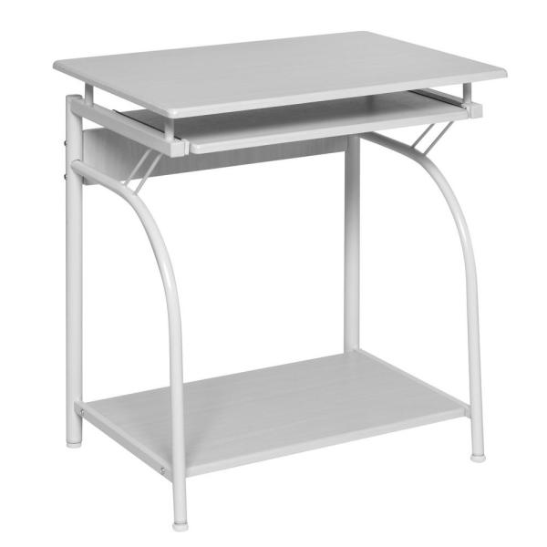 onespace white oak stanton computer desk with pullout keyboard tray rh homedepot com