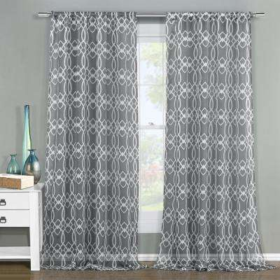 Newbella 51 in. W x 84 in. L Polyester Window Panel in Silver
