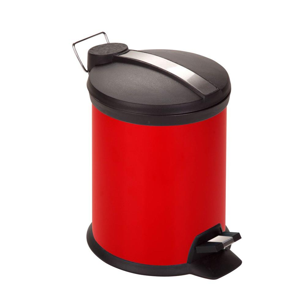 3 l Red Round Metal Step-On Touchless Trash Can