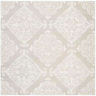 Glamour Silver/Ivory 6 ft. x 6 ft. Square Area Rug