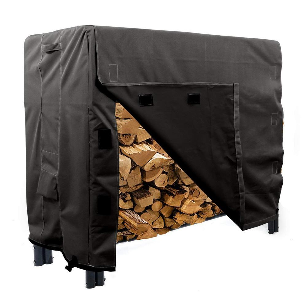 KHOMO GEAR Panther Series 4 ft.  Black Log Rack  Heavy-Duty Protector Cover