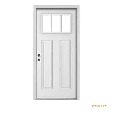 36 in. x 80 in. 3 Lite Craftsman Primed Steel Prehung Right-Hand Inswing Front Door w/Brickmould