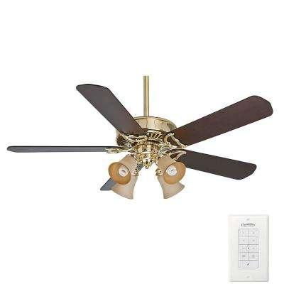 Panama Gallery 54 in. Indoor Bright Brass Ceiling Fan with Light Kit