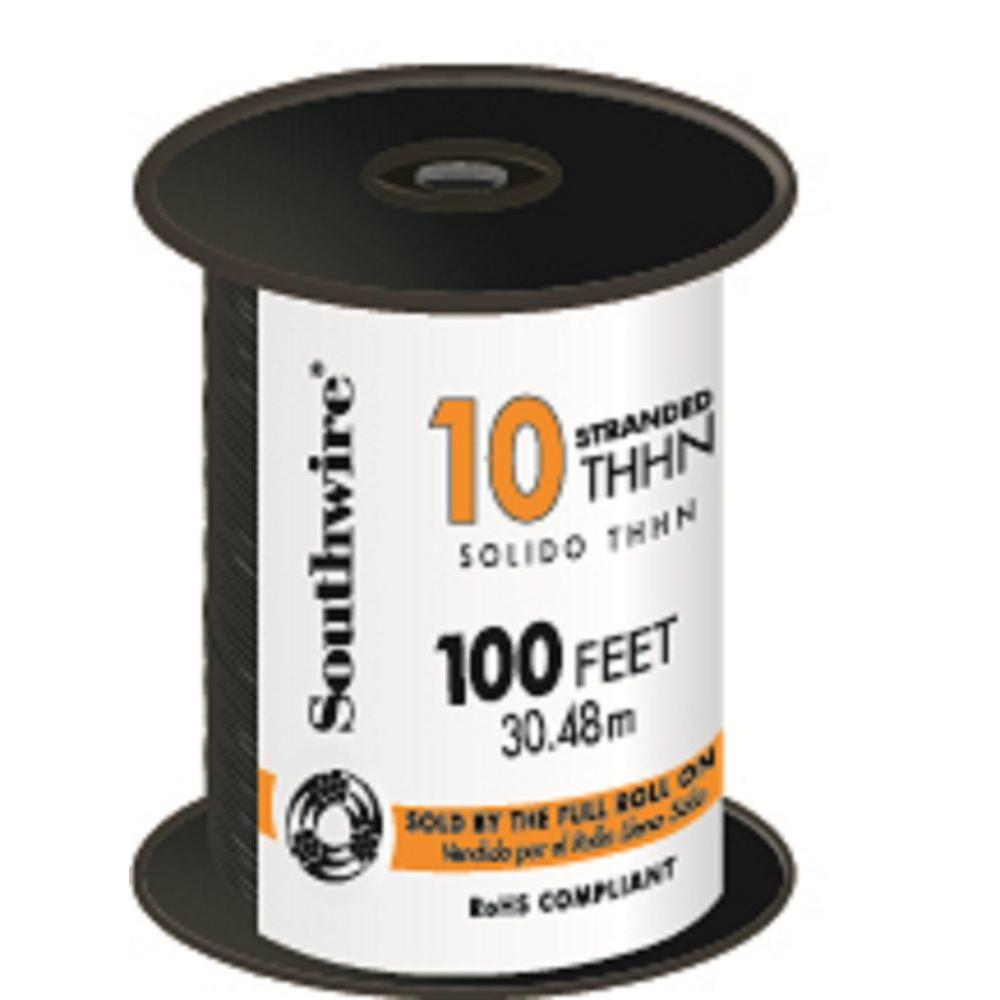 Southwire 100 ft. 10 Black Stranded CU THHN Wire