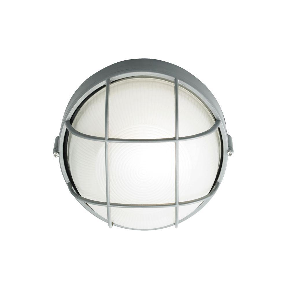 LBL Lighting Large Round Aluminum Bulkhead With Guard 1-Light Outdoor Silver Wall Light-DISCONTINUED
