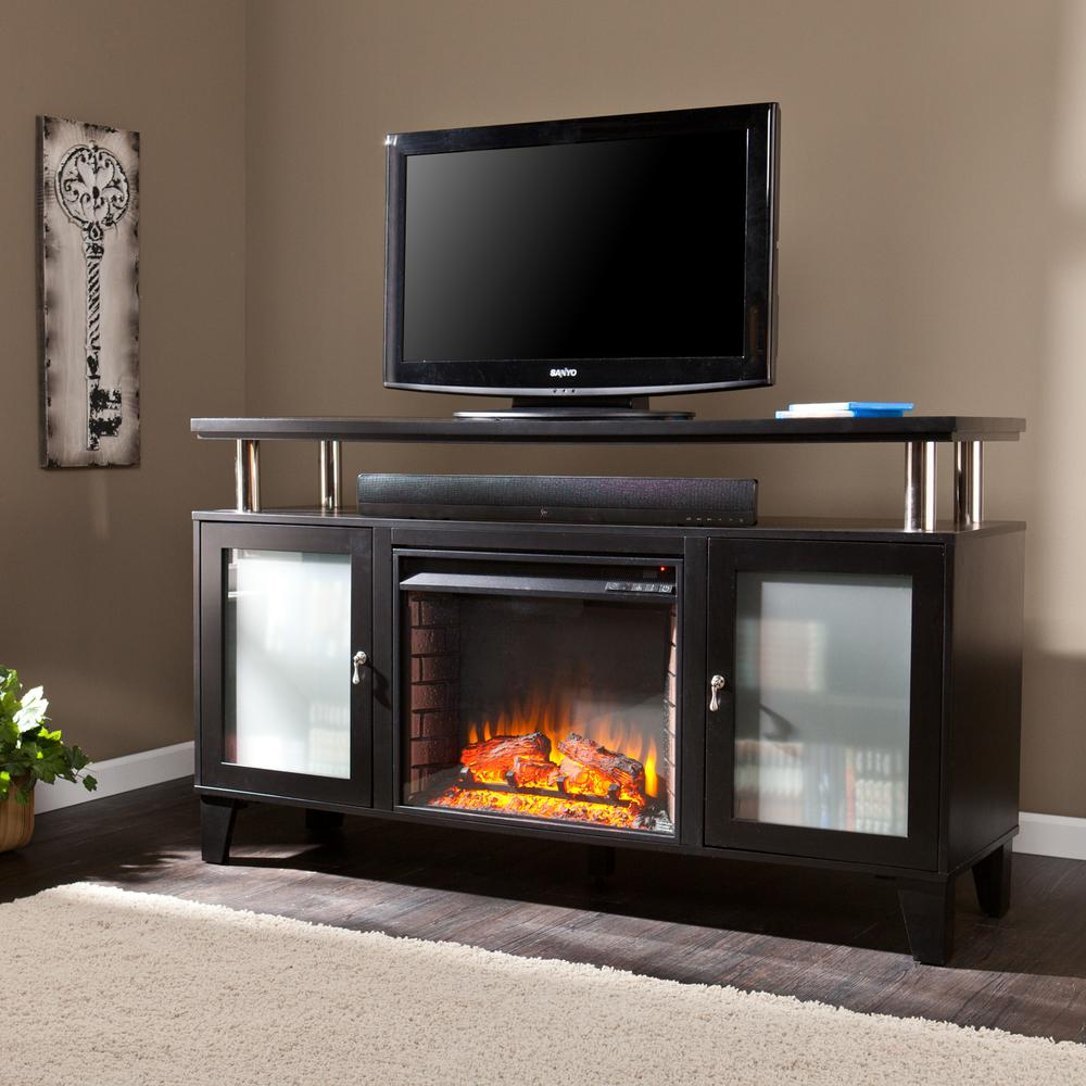 Fulton 60 in. W Media Electric Fireplace in Black
