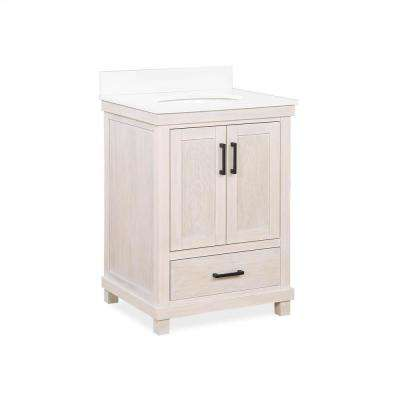 Rion 24 in. Rustic White Bathroom Vanity with White Composite Granite Vanity Top, Ceramic Oval Sink and Backsplash