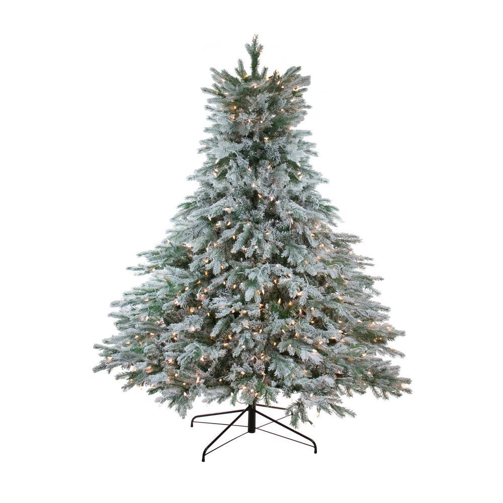 6.5 ft. x 61 in. Pre-Lit Flocked Jasper Balsam Fir Artificial Christmas Tree with Clear Lights