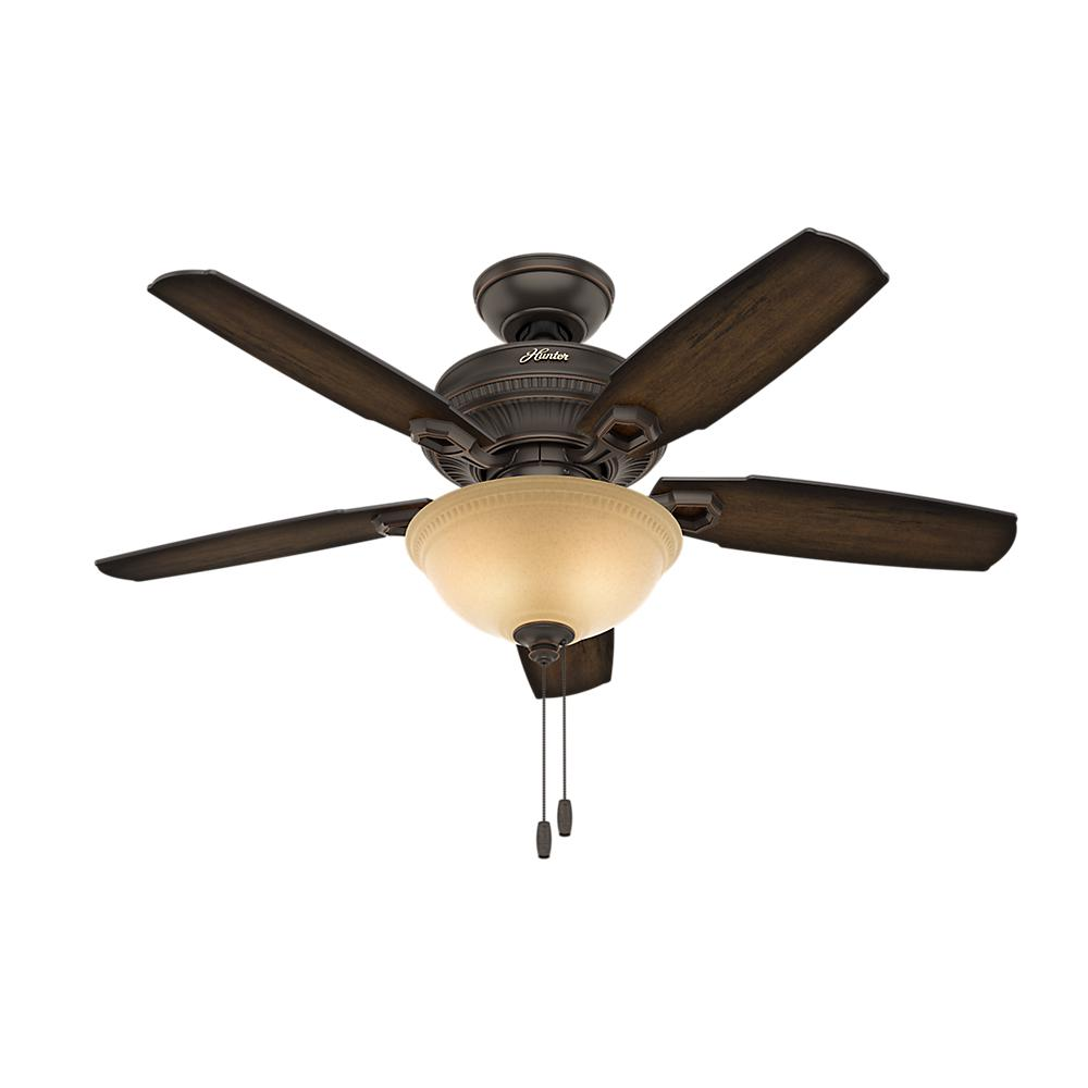 52 Onyx Bengal 4 Light Ceiling Fan With Light Kit: Hunter Ambrose 44 In. Indoor Onyx Bengal Bronze Ceiling