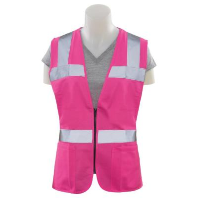 S721 XL Non-ANSI Women's Fitted Poly Tricot Hi Viz Pink Vest