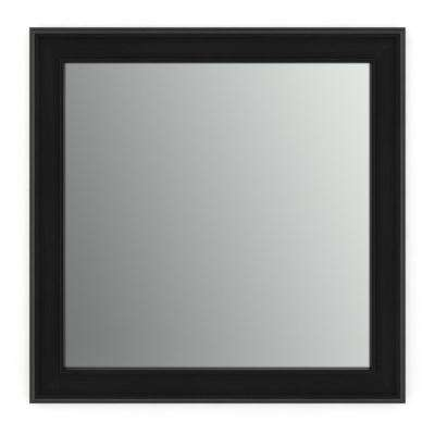 33 in. x 33 in. (L2) Square Framed Mirror with Standard Glass and Easy-Cleat Flush Mount Hardware in Matte Black