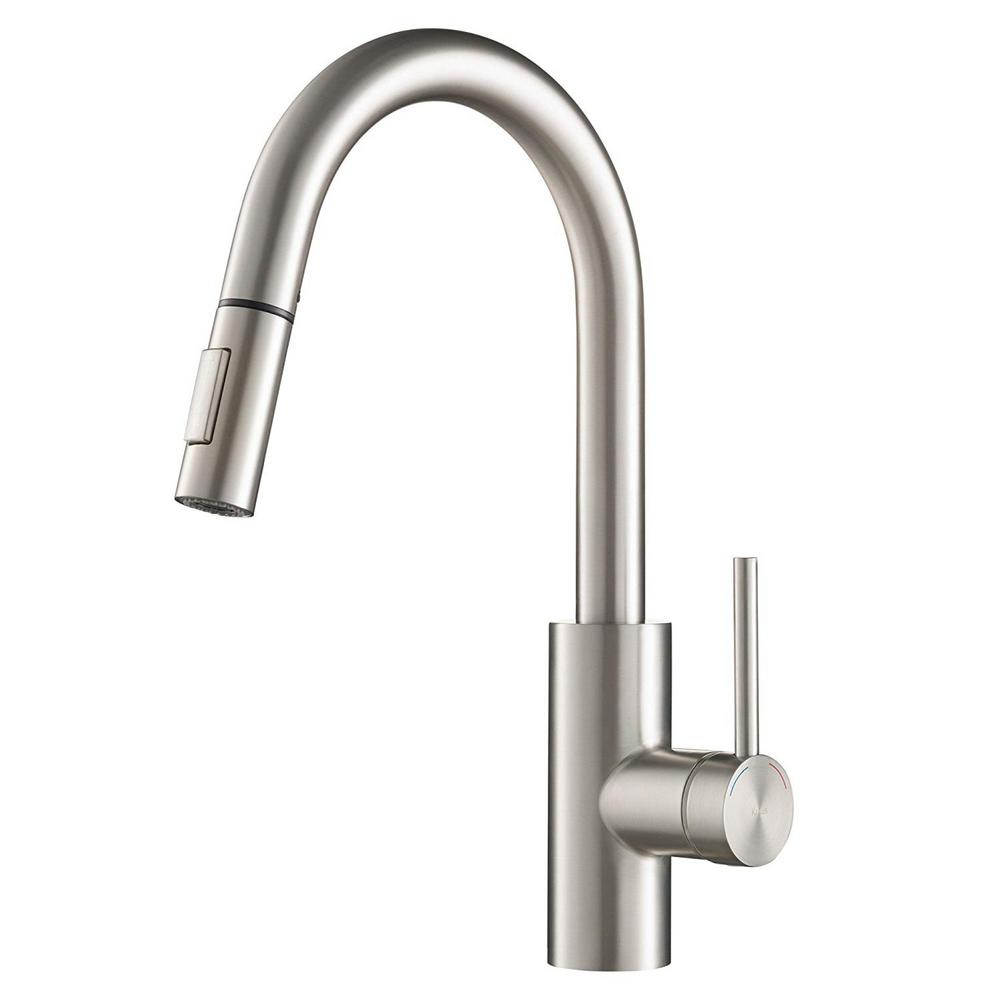 KRAUS Oletto Single-Handle Pull-Down Sprayer Kitchen Faucet with Dual-Function Sprayer in Spot-Free Stainless Steel