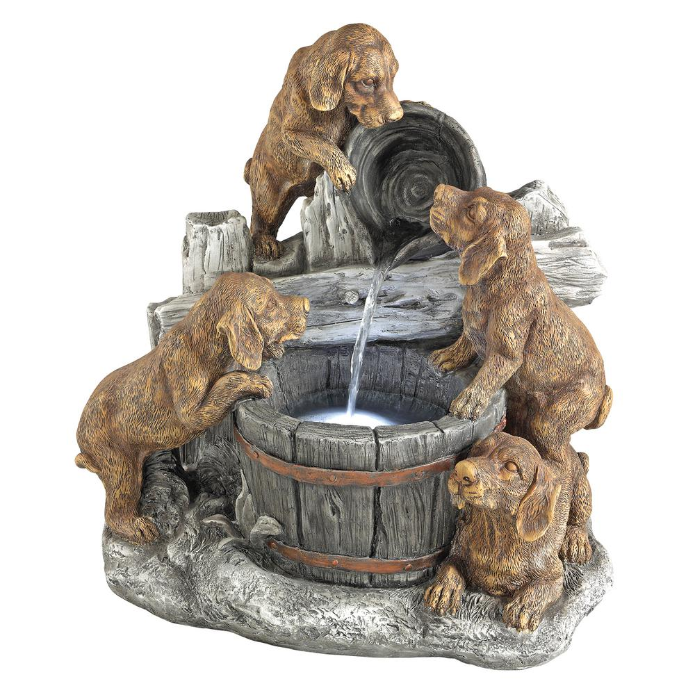 Design Toscano Puppy Pail Pour Stone Bonded Resin Garden Fountain Sh382614 The Home Depot