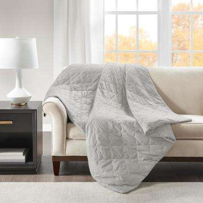 60 in. x 70 in. 18 lbs. Grey Deluxe Quilted Cotton Weighted Blanket